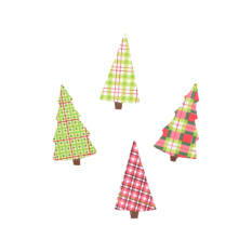 Plaid Tree Magnets
